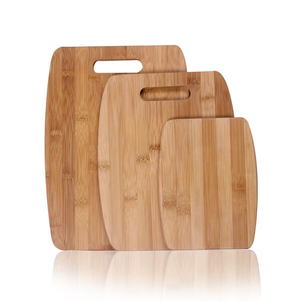 Adeco Natural Bamboo 3-piece Chopping Board Set