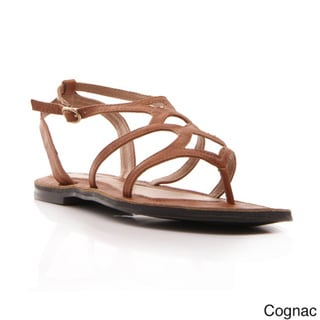 Gomax Women's Grecian-20 Cut-out Ankle Strap Thong Sandals