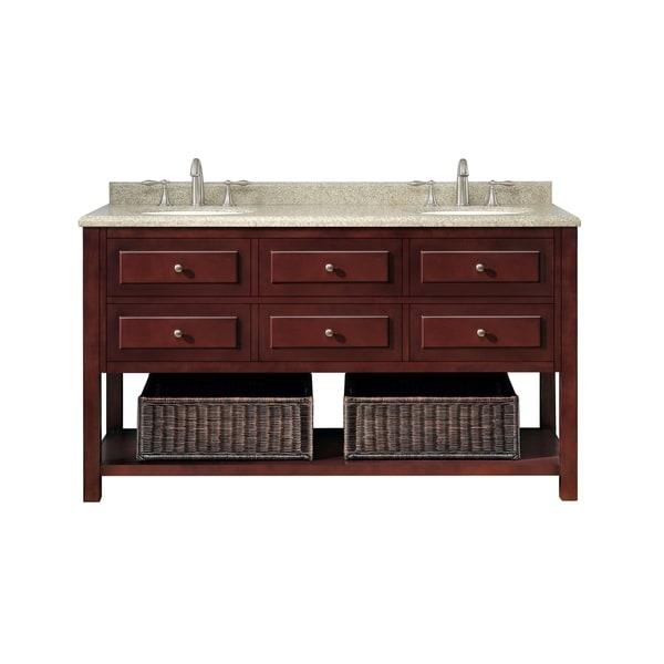 OVE Decors Danny 60-inch Double Sink Bathroom Vanity Granite Top
