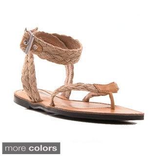 Gomax Women's Grecian-16 Braided Ankle Strap Thong Sandal