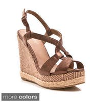 Gomax Women's Gold Dust-02 Peep-toe Ankle Strap Geometric Print Wedge