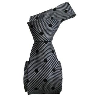 Dmitry Men's Italian Grey/ Black Polka Dot Silk Tie with Bonus Tie