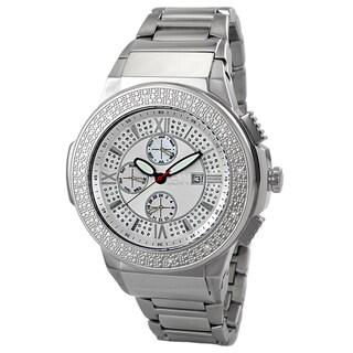 JBW Men's 'Saxon' Silvertone Crystal Analog Watch