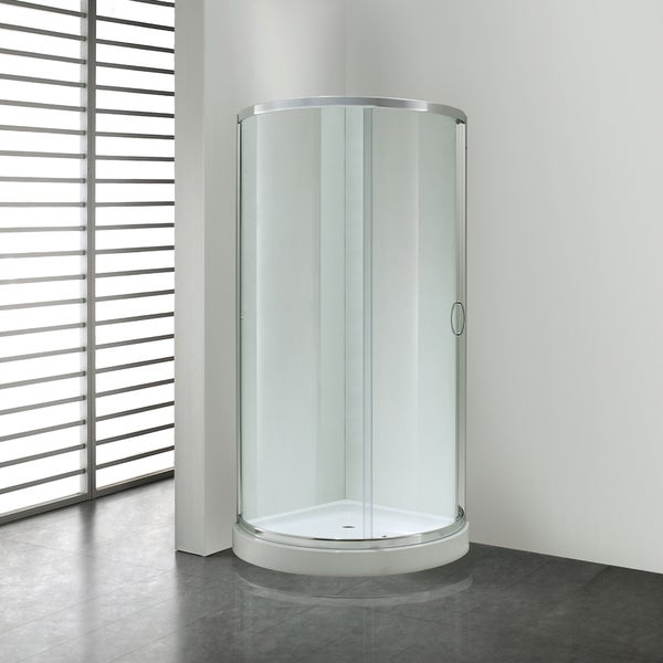 OVE Decors Breeze 34 Inch Shower Enclosure With Base And Glass Panels Free