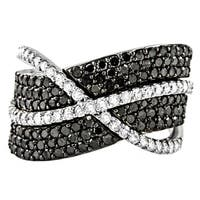 10k Gold 1-1/2ct TDW Black and White Diamond Crossover Ring