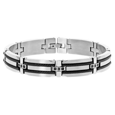 Men's Stainless Steel Black Diamond Black Ionic Plating Cable Bracelet