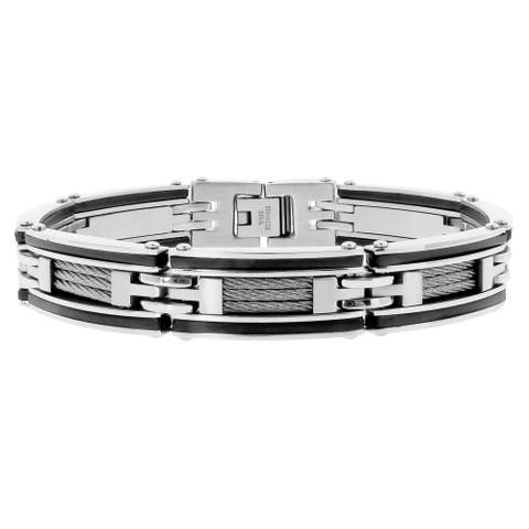Men's Stainless Steel Two-tone Rubber Cable Bracelet