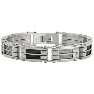 Men's Stainless Steel Two-tone Cable Inlay Bracelet