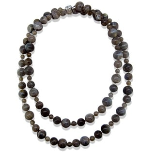 Sterling Silver Multi-size Labradorite Bead Necklace