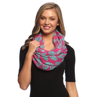 Pink and Turquoise Skull Print Infinity Loop Scarf