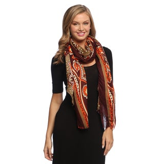 Purple/ Orange Paisley Damask Silky Scarf Wrap