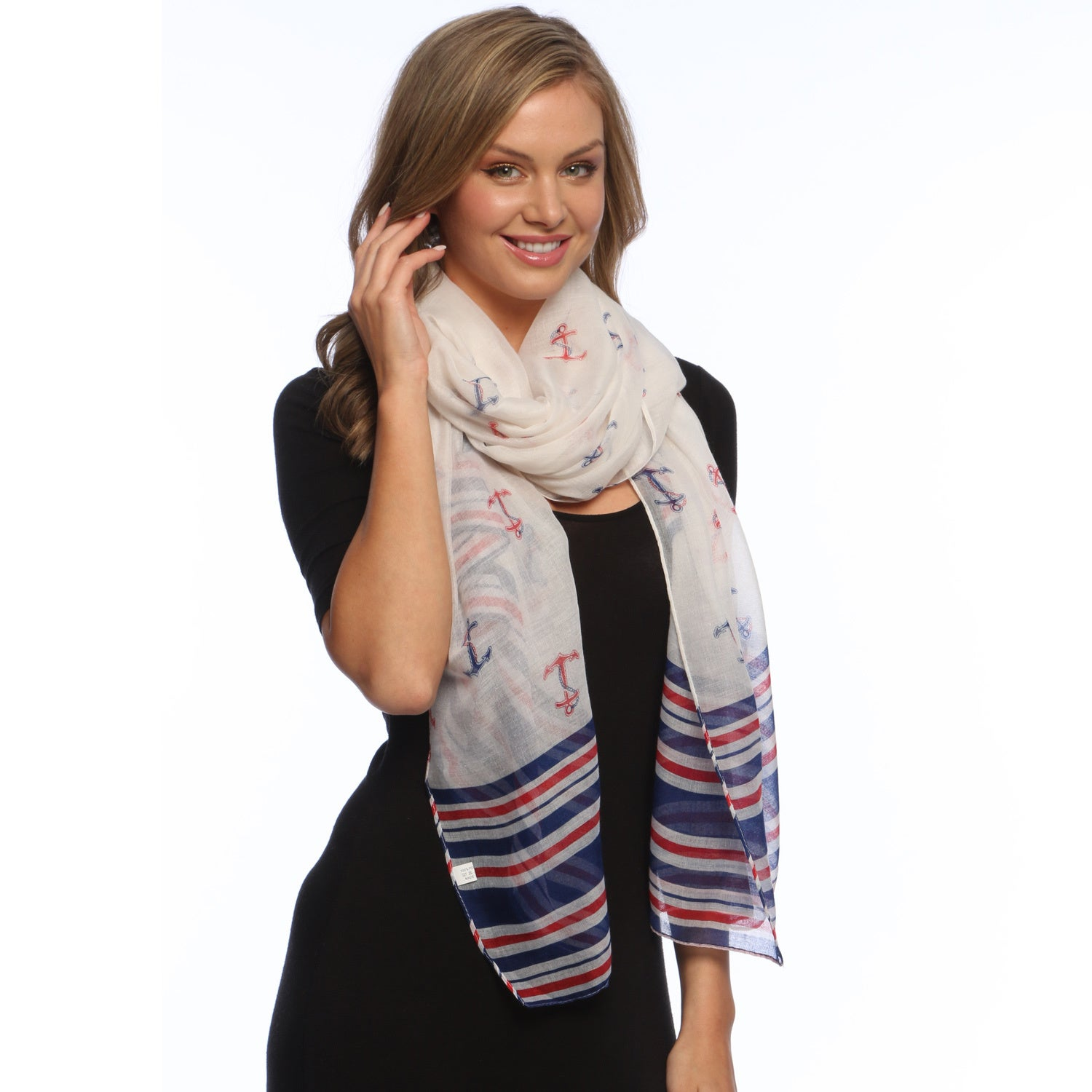 Peach Couture Navy/ White Olympic Anchor Scarf Wrap (Patr...