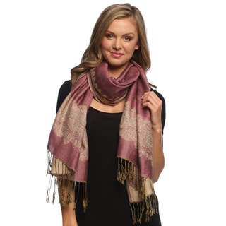 Baby Pink/ Light Gold Reversible Braided Fringe Shawl
