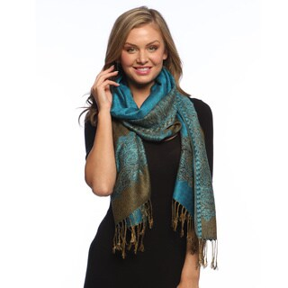 Peach Couture Teal/ Gold Reversible Braided Fringe Pashmina Shawl Wrap