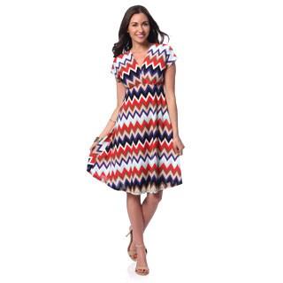 24/7 Comfort Apparel Women's Chevron Print Flutter Sleeve Knee-length Dress