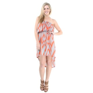 24/7 Comfort Apparel Women's Bleeding Waves High-low Sleeveless Tube Dress