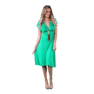 24/7 Comfort Apparel Women's Solid Flutter-sleeve Knee-length Dress