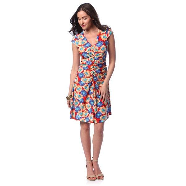24/7 Comfort Apparel Women's Red Floral V-neck Knee-length Dress