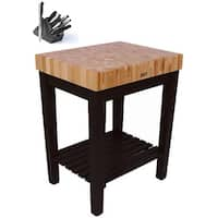 John Boos CU-CB3024S-BK Single-shelf Black Butcher Block Table (30x24 inch) with Henckels 13 Piece Knife Block Set