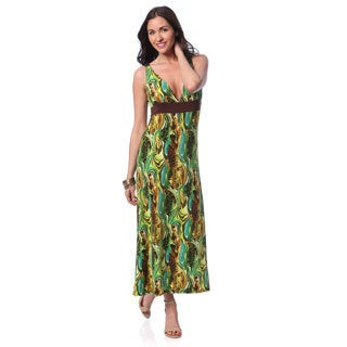 24/7 Comfort Apparel Women's Green/ Blue Abstract Print Maxi Dress