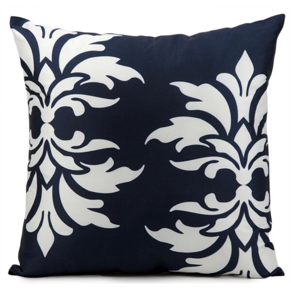 Mina Victory Indoor/Outdoor Damask Navy Throw Pillowby Nourison (20-Inch X 20-Inch)