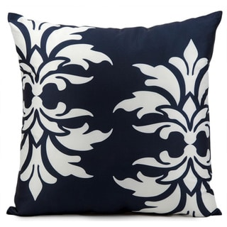 Mina Victory Indoor/Outdoor Damask Navy Throw Pillow (20-inch x 20-inch) by Nourison