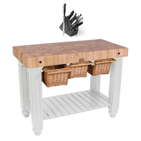 John Boos CU-GB4824-AL Alabaster White 48 x 24 Gathering Block Table and Henckels 13-piece Knife Block Set