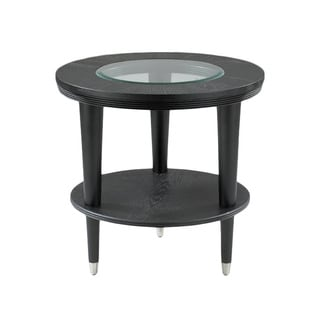 Made to Order Overton Circular Flat Black End Table