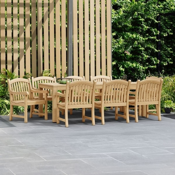 Havenside Home Tottenville 9-piece Teak Arm Chair Outdoor