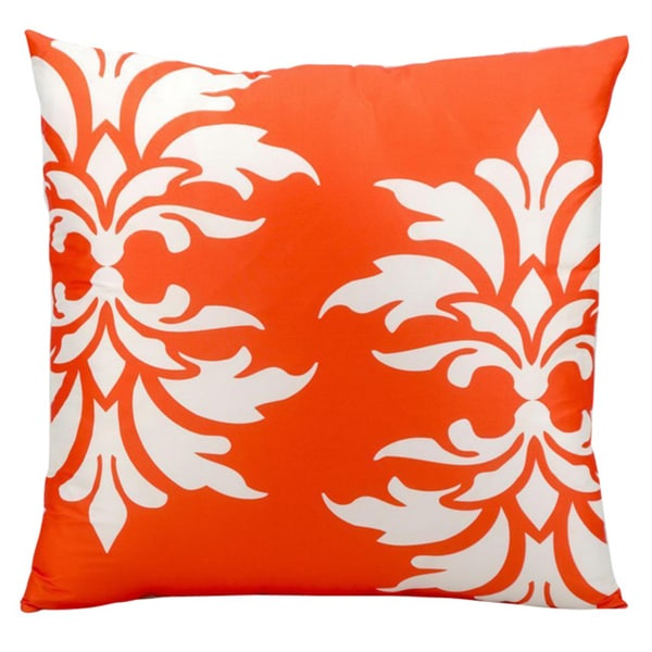 Mina Victory Indoor/Outdoor Damask Orange Throw Pillow (20-inch x 20-inch) by Nourison