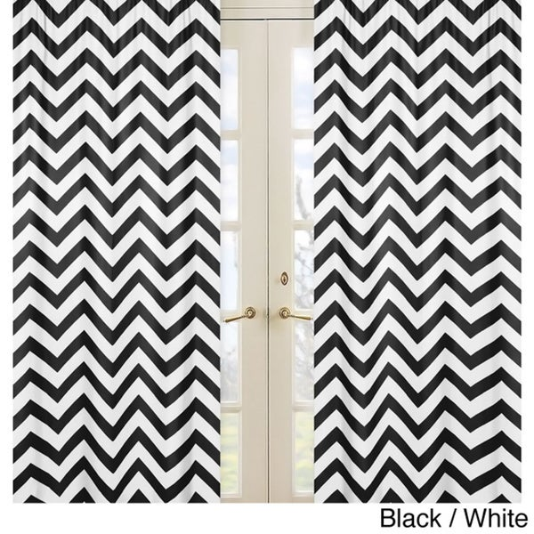 Sweet Jojo Designs 84-inch Window Treatment Curtain Panel Pair Chevron Collection