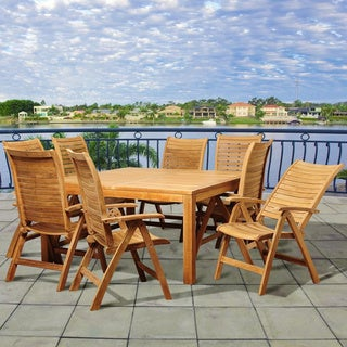 Amazonia Teak Sonya 9-piece Teak Folding Chair Outdoor Dining Set