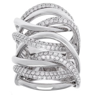 Azaro 18k White Gold 2 1/4ct TDW Diamond Multi-row Crossover Ring (G-H, SI2-I1)