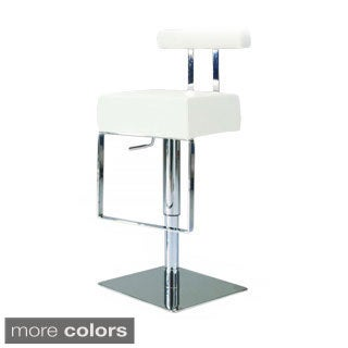 Somette Vinyl Upholstered Brushed Stainless Steel Adjustable-height Swivel Stool