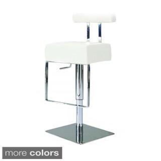 Somette Vinyl Upholstered Brushed Stainless Steel Adjustable-height Swivel Stool