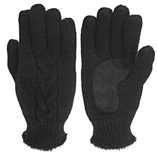 Isotoner Women's Black Suede Palm Cable-knit Gloves
