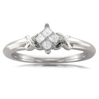 Montebello 10k White Gold 1/5ct TDW Princess-cut Quad Diamond Promise Ring