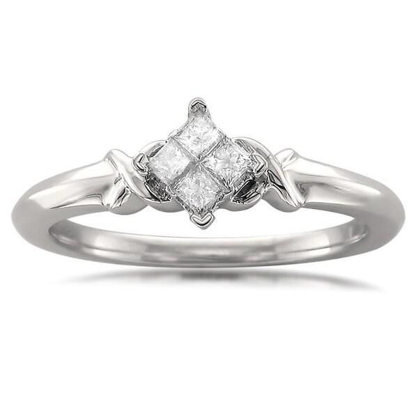 Montebello 10k White Gold 1/5ct TDW Princess-cut Quad Diamond Promise Ring
