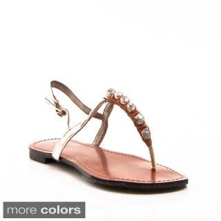 Gomax Women's Berdine-61 Rhinestone T-strap Thong Sandals