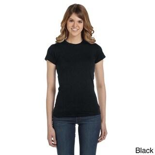 Anvil Women's Semi-sheer Crew Neck T-shirt (Option: XL,BLACK)