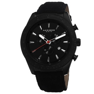 Akribos XXIV Men's Swiss Quartz Chronograph Leather-Suede Black Strap Watch