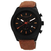 Akribos XXIV Men's Swiss Quartz Chronograph Leather-Suede Orange Strap Watch