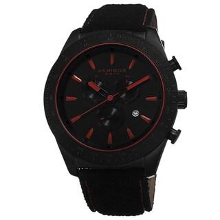 Akribos XXIV Men's Swiss Quartz Chronograph Leather-Suede Red Strap Watch