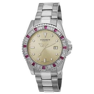 Link to Akribos XXIV Men's Swiss Quartz Crystal Bezel Stainless Steel Red Bracelet Watch Similar Items in Men's Watches