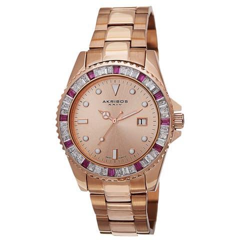 Akribos XXIV Men's Swiss Quartz Crystal Bezel Stainless Steel Rose-Tone Bracelet Watch
