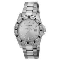 Akribos XXIV Men's Swiss Quartz Crystal Bezel Stainless Steel Silver-Tone Bracelet Watch