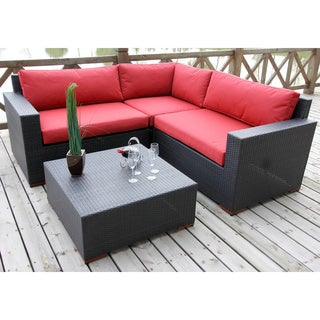 Andover Red/ Brown 4-piece Conversation Sectional Set
