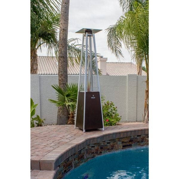 Tall Hammered Bronze Quartz Glass Tube Patio Heater   Free Shipping Today    Overstock.com   16130031