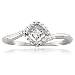 Montebello 10k White Gold 1/8ct TDW Princess-cut Halo Promise Ring