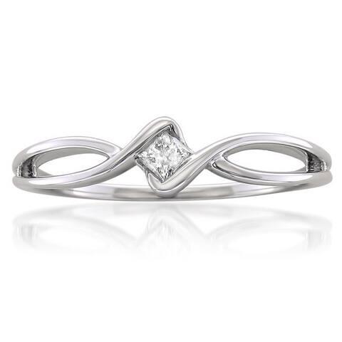 Montebello 10k White Gold 1/10ct TDW Princess-cut Diamond Promise Ring (H-I, I1-I2)